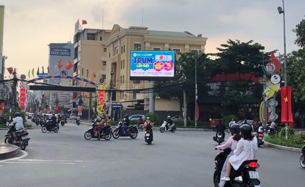 Quảng cáo tại màn hình LED bùng binh Biên Hùng, Biên Hòa, Đồng Nai