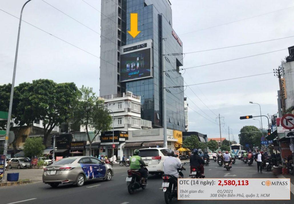 màn hình led ngoài trời 308 Điện Biên Phủ, quận 3